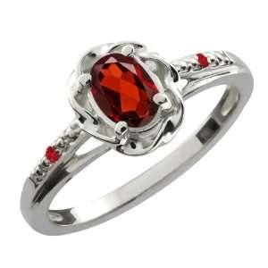 0.57 Ct Oval Red Garnet Red Rhodolite Garnet 14K White