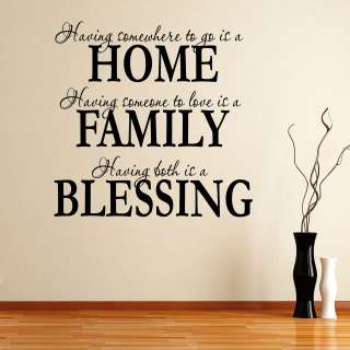 Home, Family & Blessings Quote Wall Sticker Decal Transfer Stencil