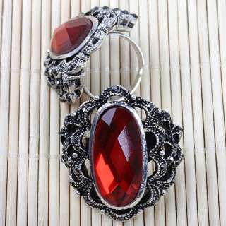 Vintage Oval Red Glass Crystal Flower Cocktail Ring S8.5 Adjustable