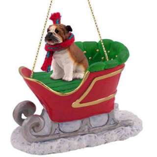 NEW BULLDOG BULL DOG SANTA SLEIGH CHRISTMAS ORNAMENT STATUE FIGURINE