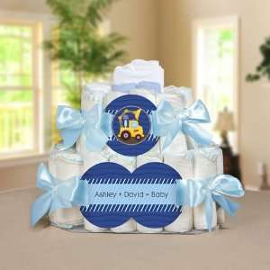 Truck Personalized Square   2 Tier Diaper Cake   Baby Shower Gift