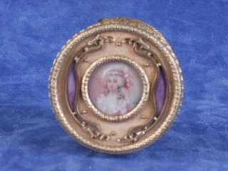 French dore ormolu bronze enamel box compact mirror