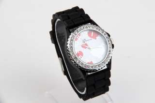 New Fashion Watch Silicone Rubber Jelly WristWatch Crystal Girl Black