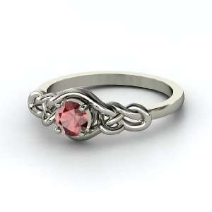 Sailors Knot Ring, Round Red Garnet 14K White Gold Ring Jewelry