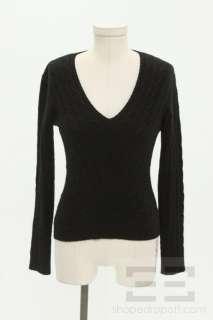 Ralph Lauren Black Label Black Cashmere Cable Knit V Neck Sweater Size