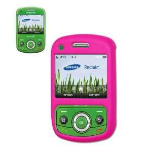 Rubber Protector Skin Cover Case for Samsung Reclaim M560   Hot Pink