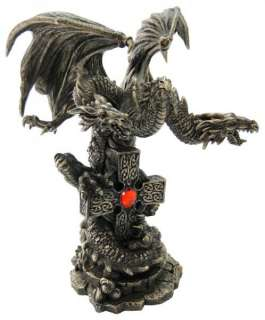 New 3 Headed Dragon & Celtic Cross Bronze Statue Figure