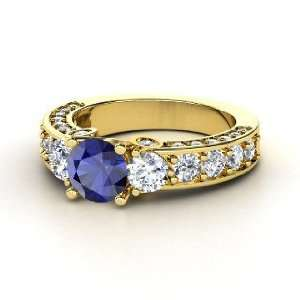 Rebecca Ring, Round Sapphire 14K Yellow Gold Ring with Diamond