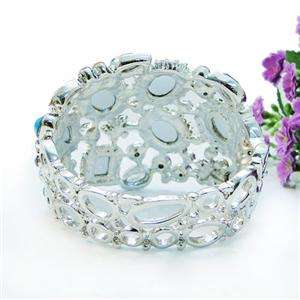 Bangle Bracelet Cuff Blue Swarovski Crystal Floral Drop Oval