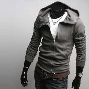 Fashion Mens Double Front Zip Rider Style Top Designed Hoodie Jacket