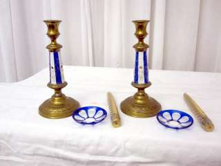 Pair of Cobalt Blue Porcelain & Brass Candle Sticks European RARE Nice
