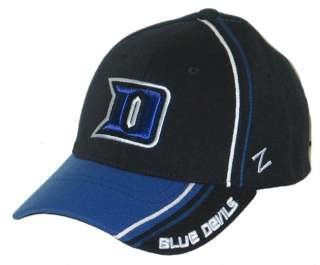 DUKE BLUE DEVILS BLACK SLASH FLEX FIT FITTED HAT/CAP M/L NEW