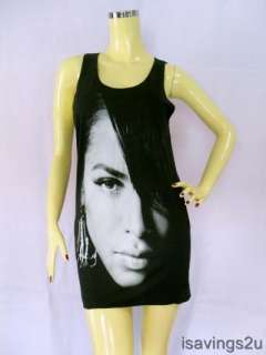 AALIYAH Tank Top, Princess R&B Urban POP Queen BLACK Singlet, T shirt
