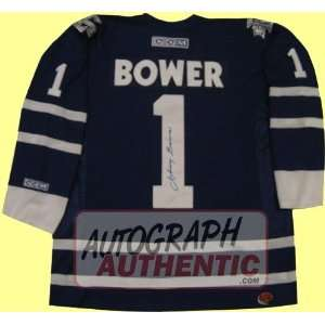 Autographed Johnny Bower Toronto Maple Leafs Jersey (Blue