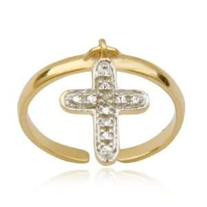 Gold Plated Sterling Silver Diamond Accent Cross Adjustable Toe Ring