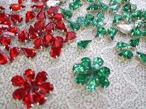+Emerald Green Tear Drop Rhinestone Jewels/Craft/Christmas/Sew On E13
