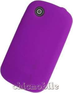 Screen + PURPLE Silicone Skin Case Cover Straight Talk ZTE MERIT Phone