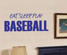 Eat Sleep Baseball Vinyl Wall Letters Quote Sticker S14