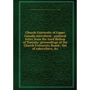 Church University of Upper Canada microform  pastoral