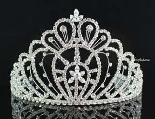 QUEEN RHINESTONE CROWN TIARA W/ COMBS PAGEANT PROM H469