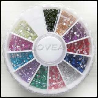 1500 Round Rhinestones Gems 12 Color Nail Art 2mm Wheel