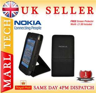LEATHER FLIP CASE COVER STAND FOR NOKIA N8 MOBILE PHONE