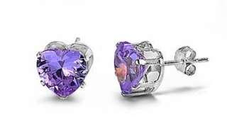 Sterling Silver Women Heart Stud Earrings 5mm Amethyst CZ.
