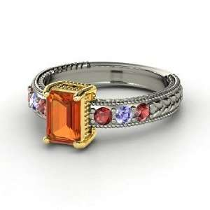 Emerald Isle Ring, Emerald Cut Fire Opal Sterling Silver Ring with Red