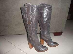 Womens Chloe Leather Brown Heels Boots Size 36 U.S Sz 6