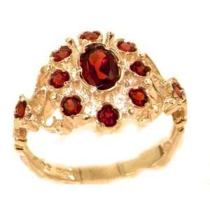 Unusual Solid Rose Gold Natural Garnet Ring with English Hallmarks
