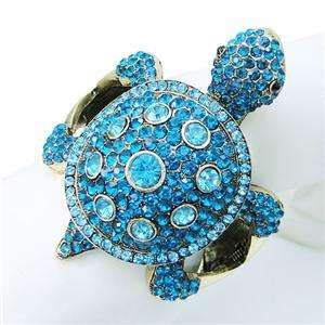 Turtle Bracelet Swarovski Crystal Blue Animal Tortoise Bangle