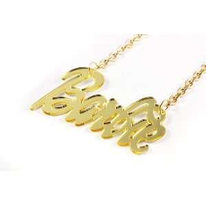 MINAJ BARBIE Gold Mirror Polished Pendant w/ 18 Chain L Jewelry