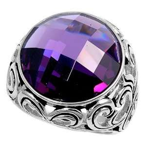 Sterling Silver Ring with Purple Amethyst CZ Stone   Size