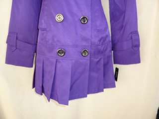Guess Royal Purple Trench Coat Jacket Pleated S Trenchcoat