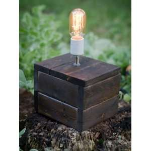 Handmade Wooden Edison Bulb Lamp   Vintage Light Bulb