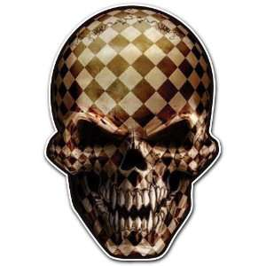 Checkered Skull Racing Flag Car Bumper Sticker Decal 4.5