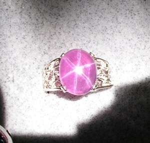 5X11MM 11 CT TRANSPARNT HOT PINK STAR SAPPHIRE CREATED SS RING