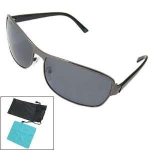 Men Black Plastic Arms Full Rim Polarized Sunglasses