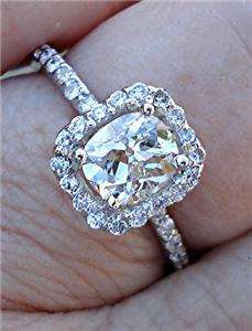 VVS Antique Cushion Mine Cut GIA Certified Diamond Ring 18K WG