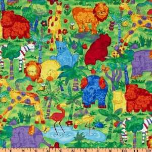 Wide Jungle Buzz Large Jungle Animals Green/Multi Fabric By The Yard