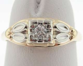 Vintage Estate Genuine Diamond Solid 14k Gold Ring