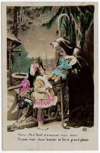 Tinted Real Photo Postcard Father Christmas Santa Claus with Little