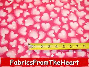 Fairy Castle Pink Sweet Hearts Stars Fabri Quilt Fabric