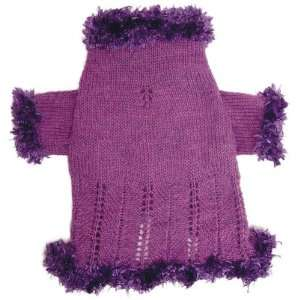 Knitted Purple Dog Sweater with Fluffy Fur Trims   XS