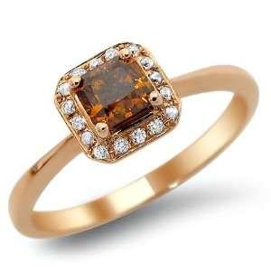 Fancy Brown Cushion Cut Diamond Engagement Ring 14k Rose Pink Gold
