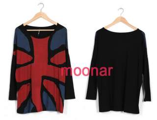 Personal Style Union Jack Flag Batwing Sleeve Women T Shirts Tops Long