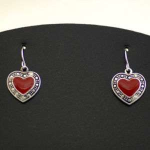 RED HEART FAUX MARCASITE VALENTINE LOVE EARRINGS 347