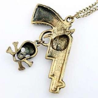 fashion retro style bronze rhinestone pedant necklace skull gun