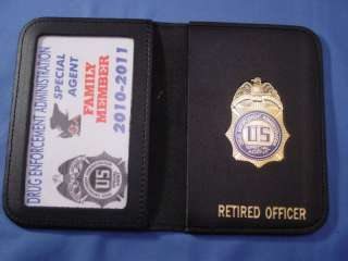 DEA POLICE LEATHER WALLET WITH MINI BADGE