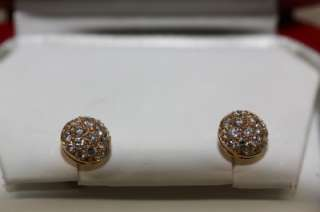 Fine Estate Cartier 18k Pink Gold Paved Diamond Round Stud Earrings